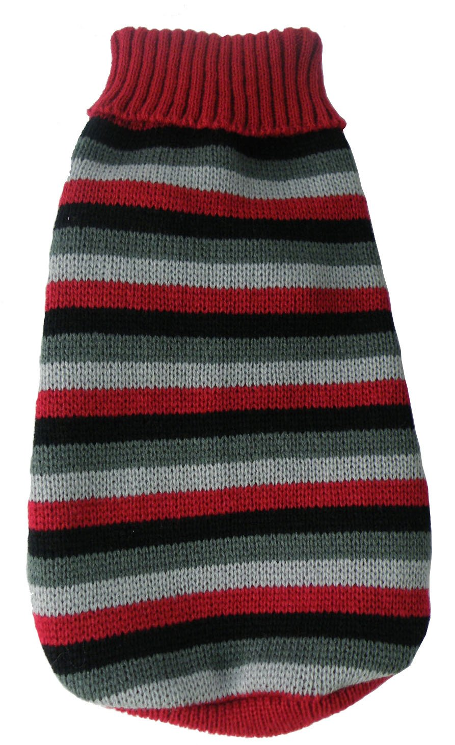 Pet Life Polo-Casual Lounge' Cable Knit Fashion Designer Turtle Neck Pet Dog Sweater, Small, Red, Black and Grey
