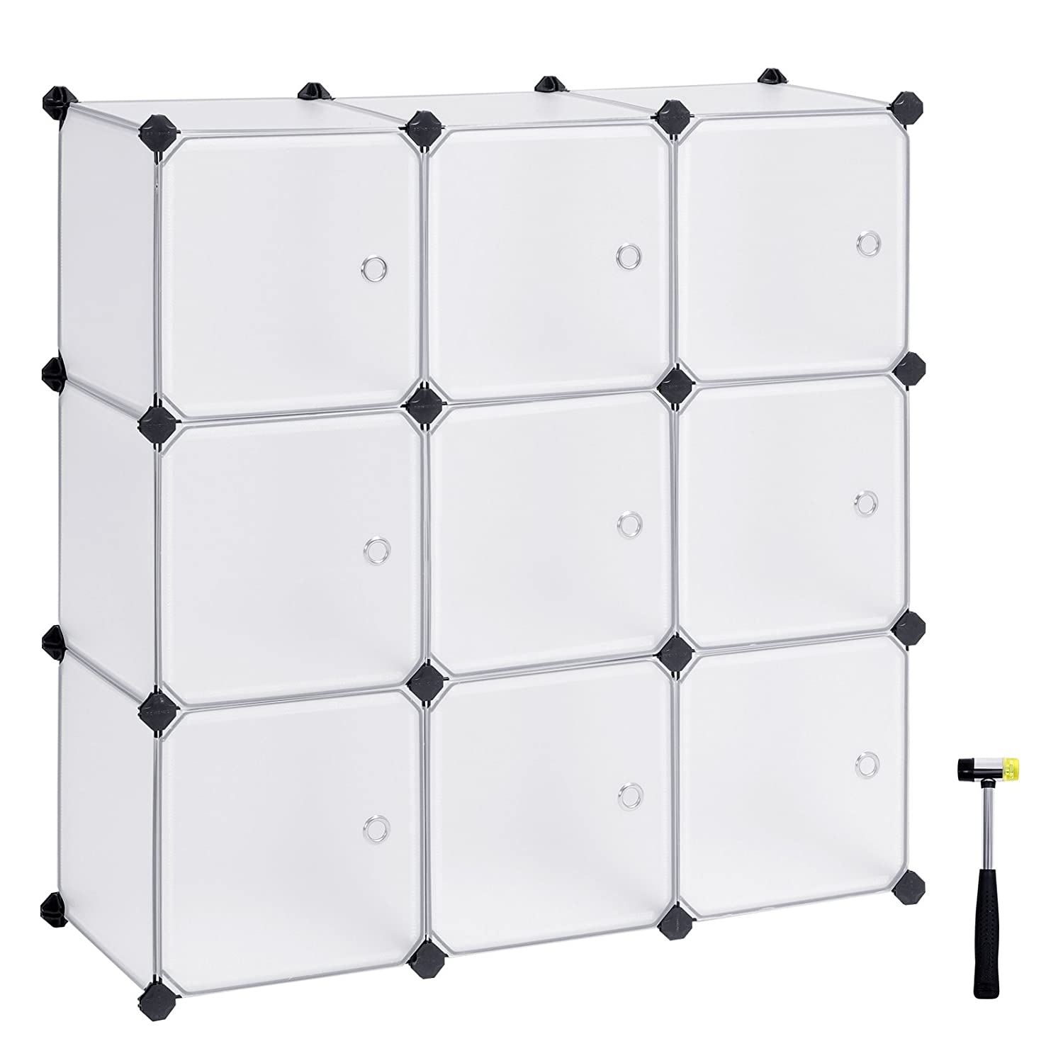 SONGMICS Cube Storage, DIY Plastic Cube Organizer Units, Modular Closet Cabinet with Doors for Clothes, Shoes, Toys, Book for Bedroom, Living Room,Office, with Rubber Mallet White 9-Cube ULPC116WS
