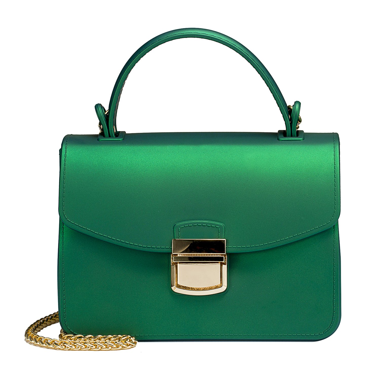 Small Top Handle Handbags Jelly Satchel Bags for Women Tote Purse - Green