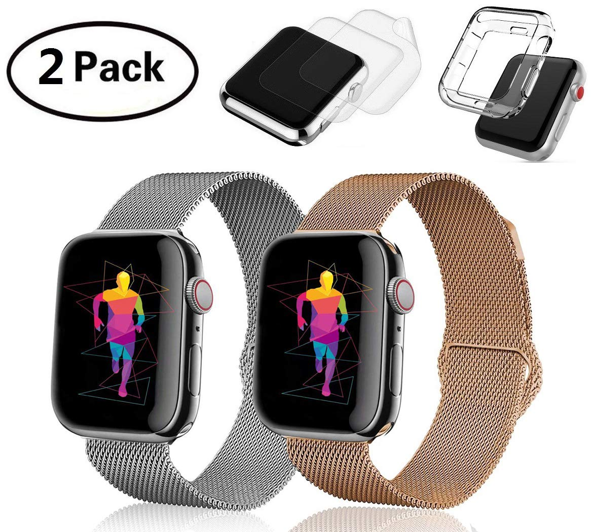 (2 Pack) Compatible Apple Watch Band 38mm 40mm, G.P Stainless Steel Mesh Sport Wristband Loop with Watch Protective Case Compatible for Series 4/3/2/1, 2X Screen Protector As Gift by Greenpointselect