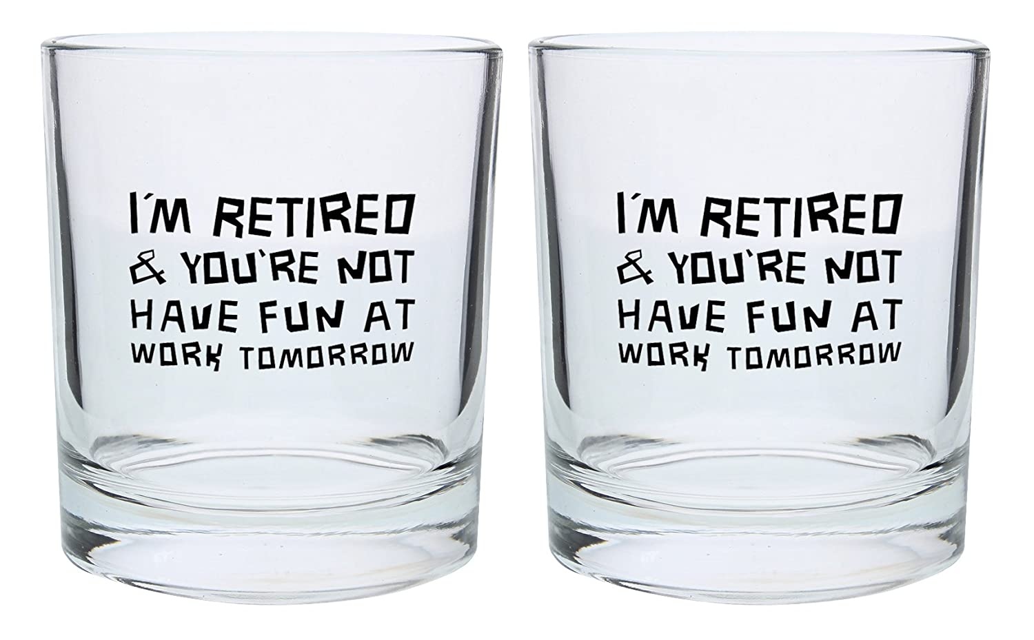 Retirement Gifts for Women or Men I'm Retired You're Not Have Fun at Work Tomorrow Funny Retirement Gift Set Gift Lowball Glasses 2-Pack Round Lowball Tumbler Set Black A-P-PD-9RHBG-0010-02-Blk