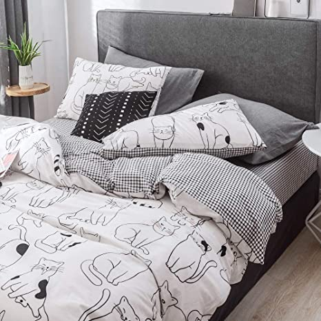 Striped Soft Cotton Fully Fitted Sheet Set Cartoon Single//Queen//King Size Bed