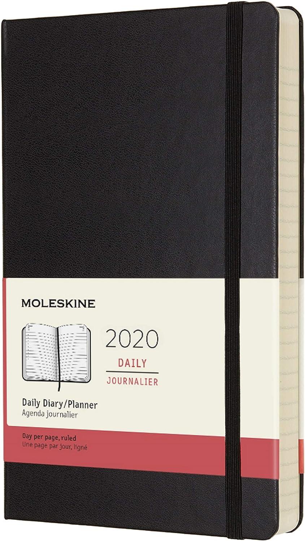 agenda 12 meses diaria, tapa dura negra, large, negra