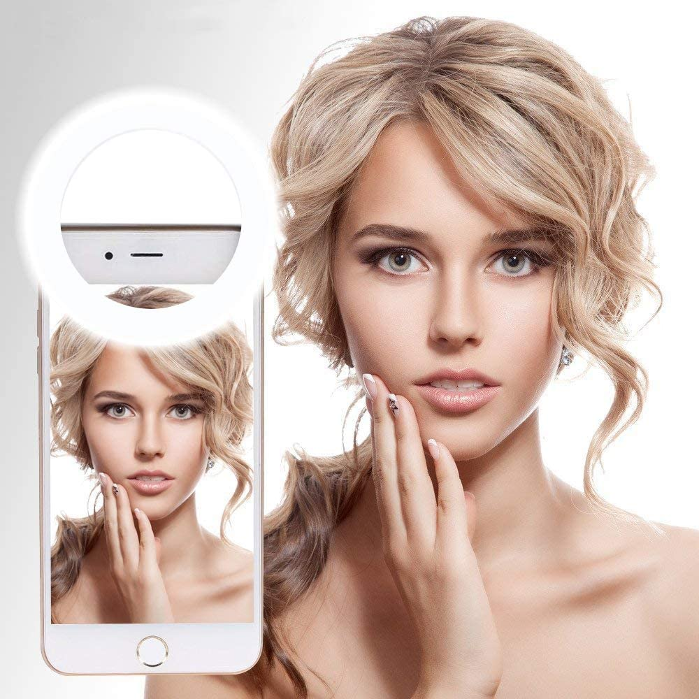 White 3-Level Adjustable Brightness Rechargeable Selfie Phone Camera Ring Light with 36 LED Light