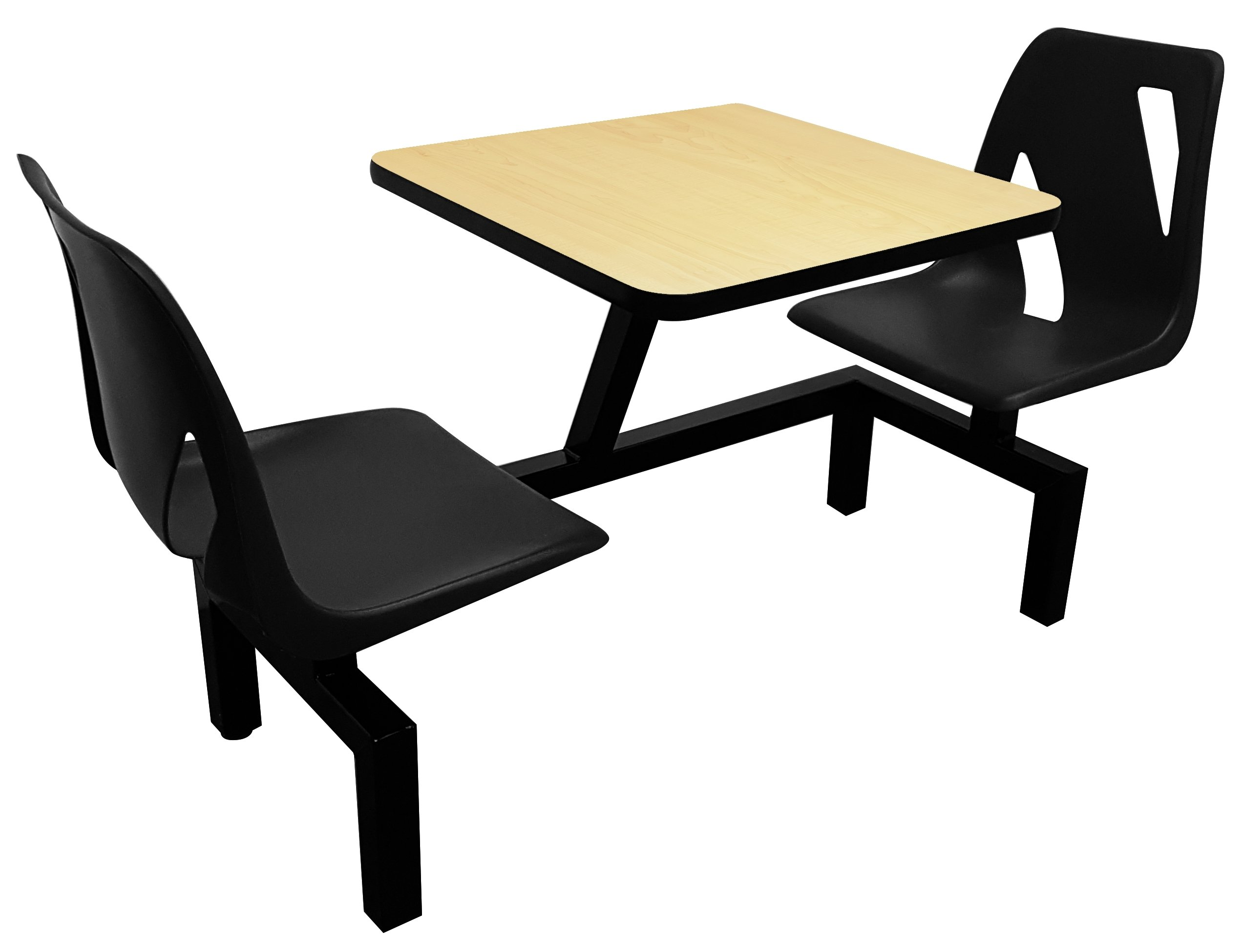 Rodo Industries DS2W-BK-FM DS2W,BK,FM DS Series Public Cluster Modular Seating, Two Seat Wall Units, Black Seat, Fusion Maple Tabletop, 60'' x 24'' x 29''