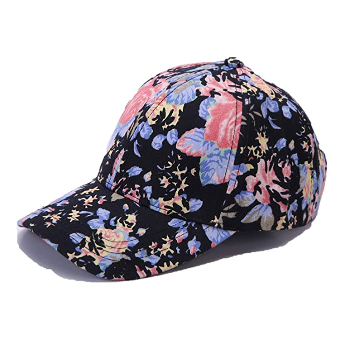 2019 Trend Casual Foral Cap Print Cotton Baseball hat for Women Fitted Hip Hop Hat Gorra de Mujer Black at Amazon Womens Clothing store: