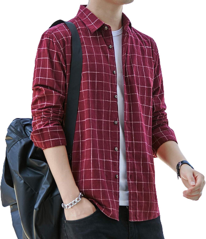 Camisa de Hombre Simple y cómoda Camisa de Todo fósforo de algodón de Manga Larga a Cuadros con Arena y Estilo Retro japonés Simple y cómodo