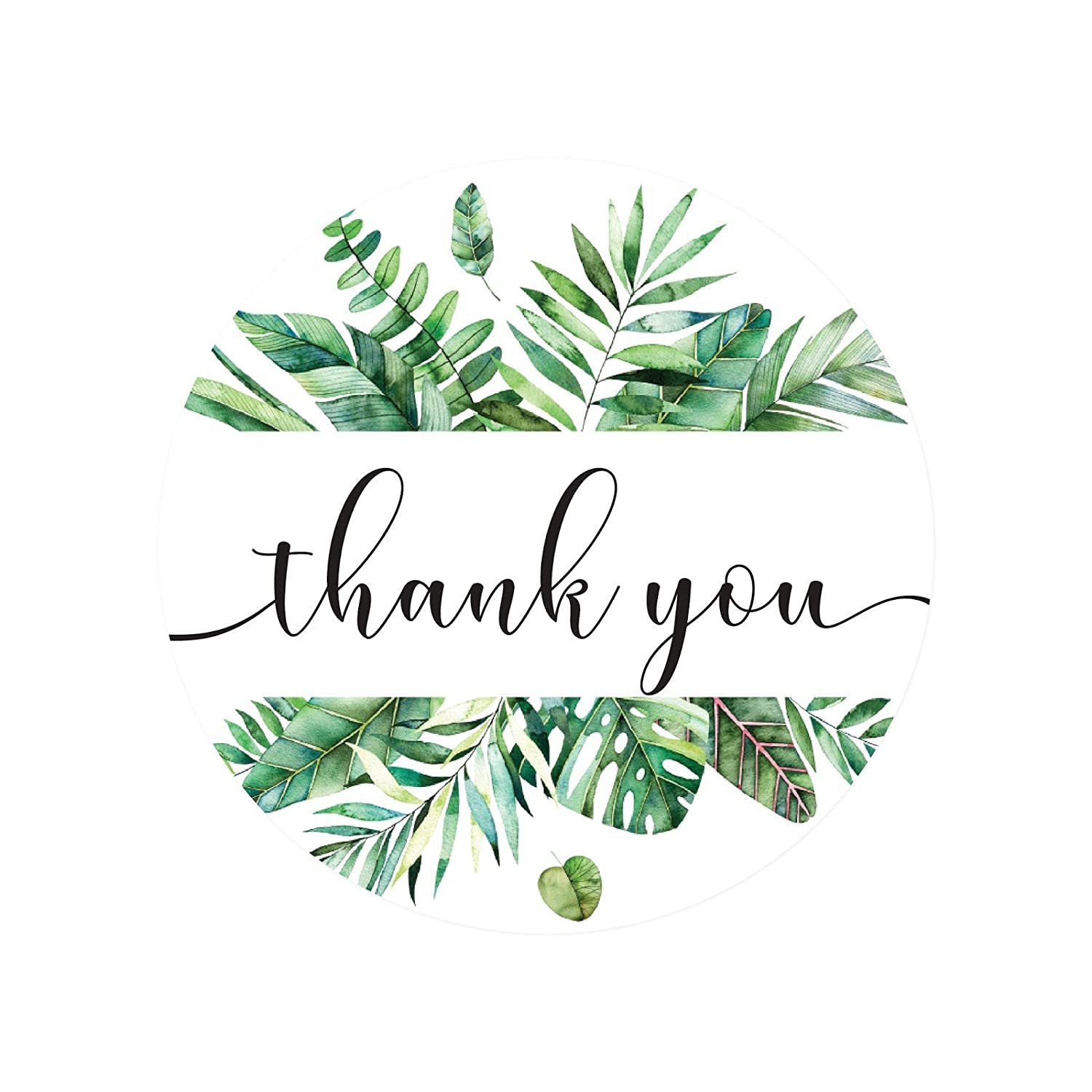 Andaz Press Tropical Bulk Thank You Round Circle Label Stickers, 2-inch,  Alana Green Palm Leaves