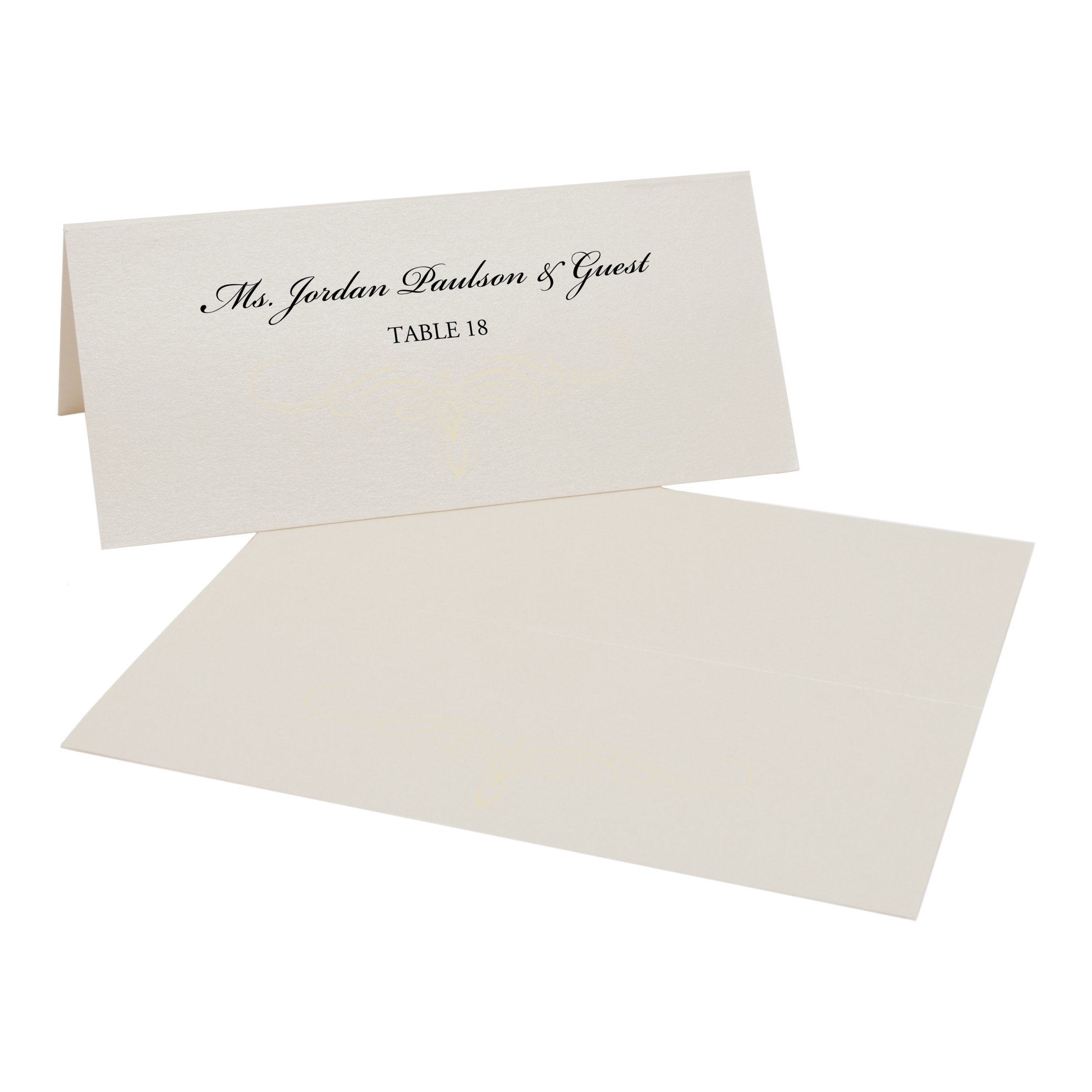 Decadent Flourish Place Cards, Champagne, Ivory, Set of 375 by Documents and Designs