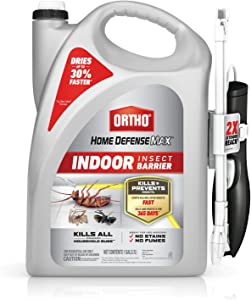 Ortho Home Defense Max Indoor Insect Barrier - with Extended Reach Comfort Wand, Use for Indoor Pest Control, No Stains, Bug Barrier Starts to Kill Ants, Roaches, Spiders, Fleas & Ticks Fast, 1 gal.