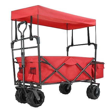 New Collapsible Wagon Cart Beach Folding Camp Trolley Garden Utility Cart 165LBS