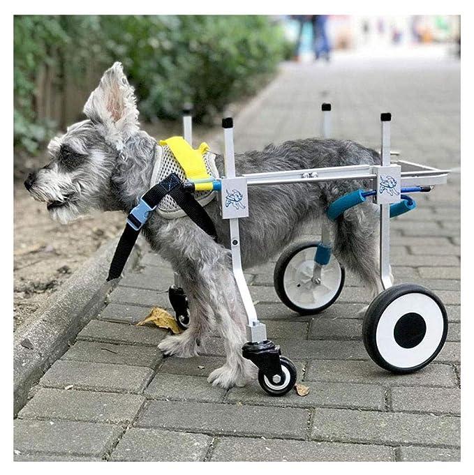 Carrito para perros, adecuado para la práctica de mascotas, rehabilitación, incapacidad de extremidades, caminar, perro pequeño grande, ajustable, 4 rondas, ...