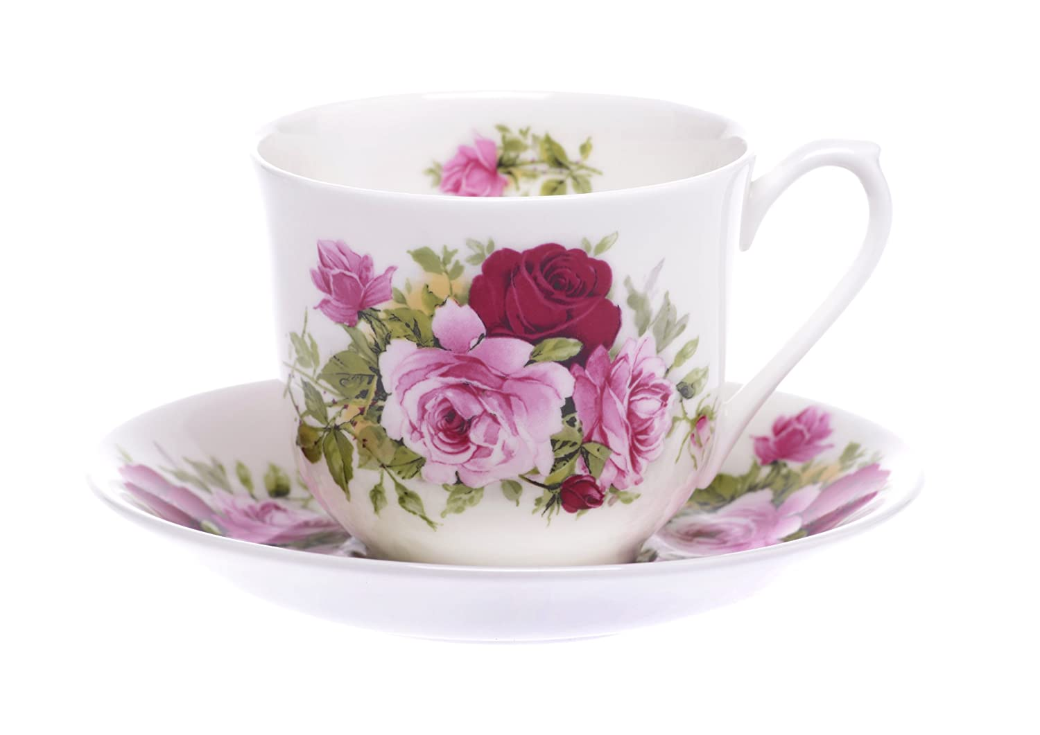 (SET OF 2) Bone China 8 FL OZ Summertime Pink Rose Flowers Cup and Saucer Kirsty Jayne China- Hand decorated in the Potteries, Staffordshire, England.