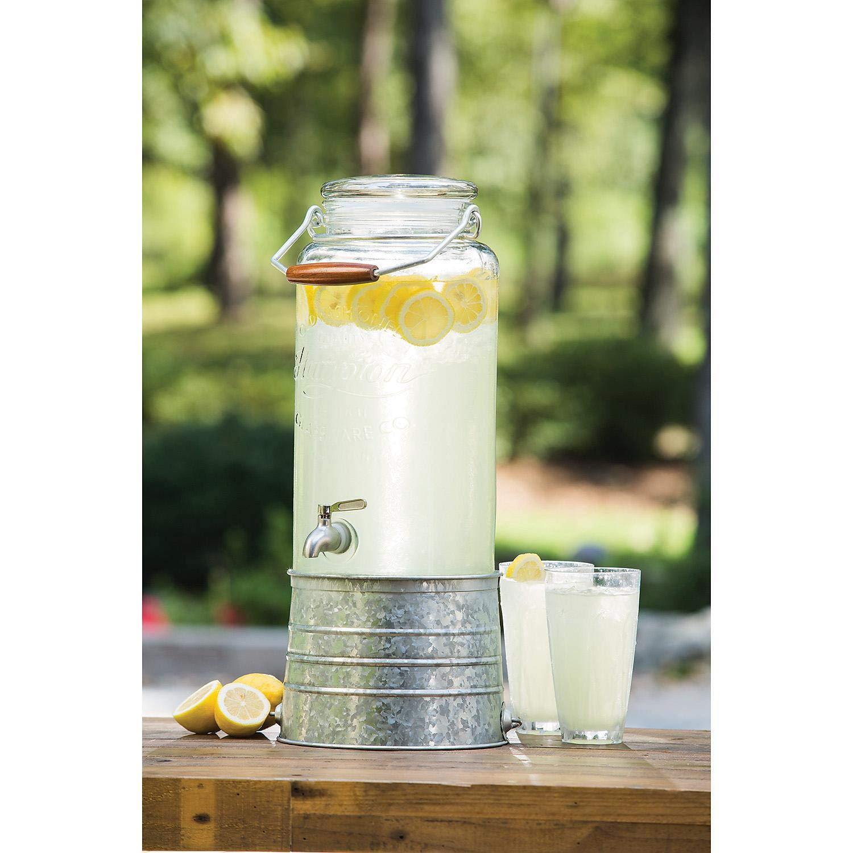 Glass Beverage Dispenser with Galvanized Steel Base 2.5 Gallon