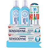 Sensodyne Sensitive Teeth Relief Bundle, 2 x Toothpaste, 2 x Mouthwash, 2 x Toothbrush