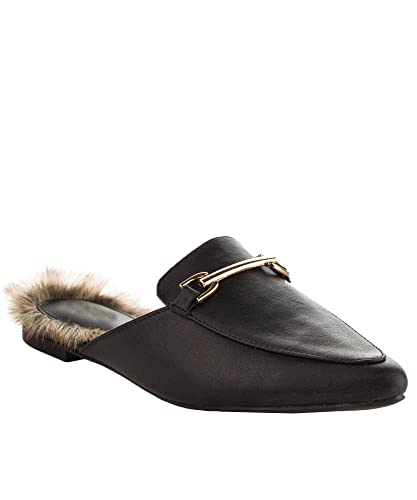 f1459453150 Qupid ROF Women s Fashion Faux Shearling Lined Sliders Slip On Pointy Toe  Fur Buckle Decor Slipper