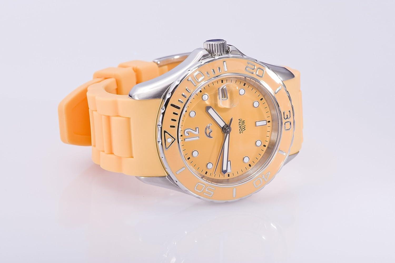 Heinzendorff Uhr Damenuhr Edelstahl mit Silikonarmband silber orange