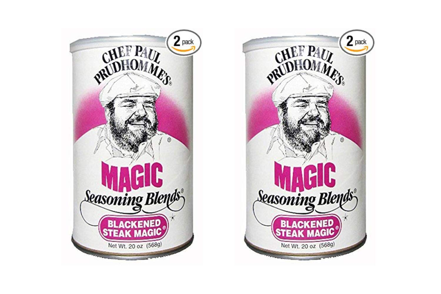 Chef Paul Blackened Steak Magic Seasoning, 20-Ounce Canisters (Pack of 2) (2 Pack)