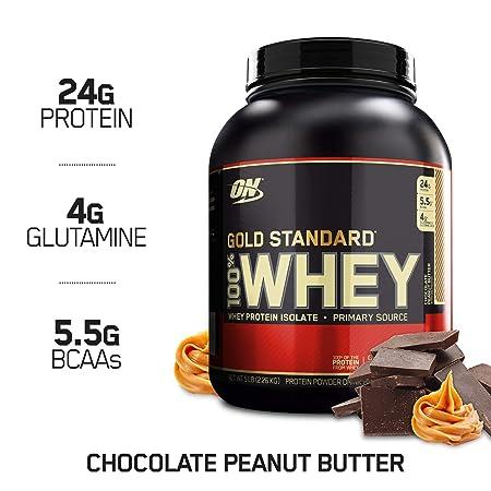 Optimum Nutrition Gold Standard 100 Whey Protein Powder, Chocolate Peanut Butter, 5 Pound
