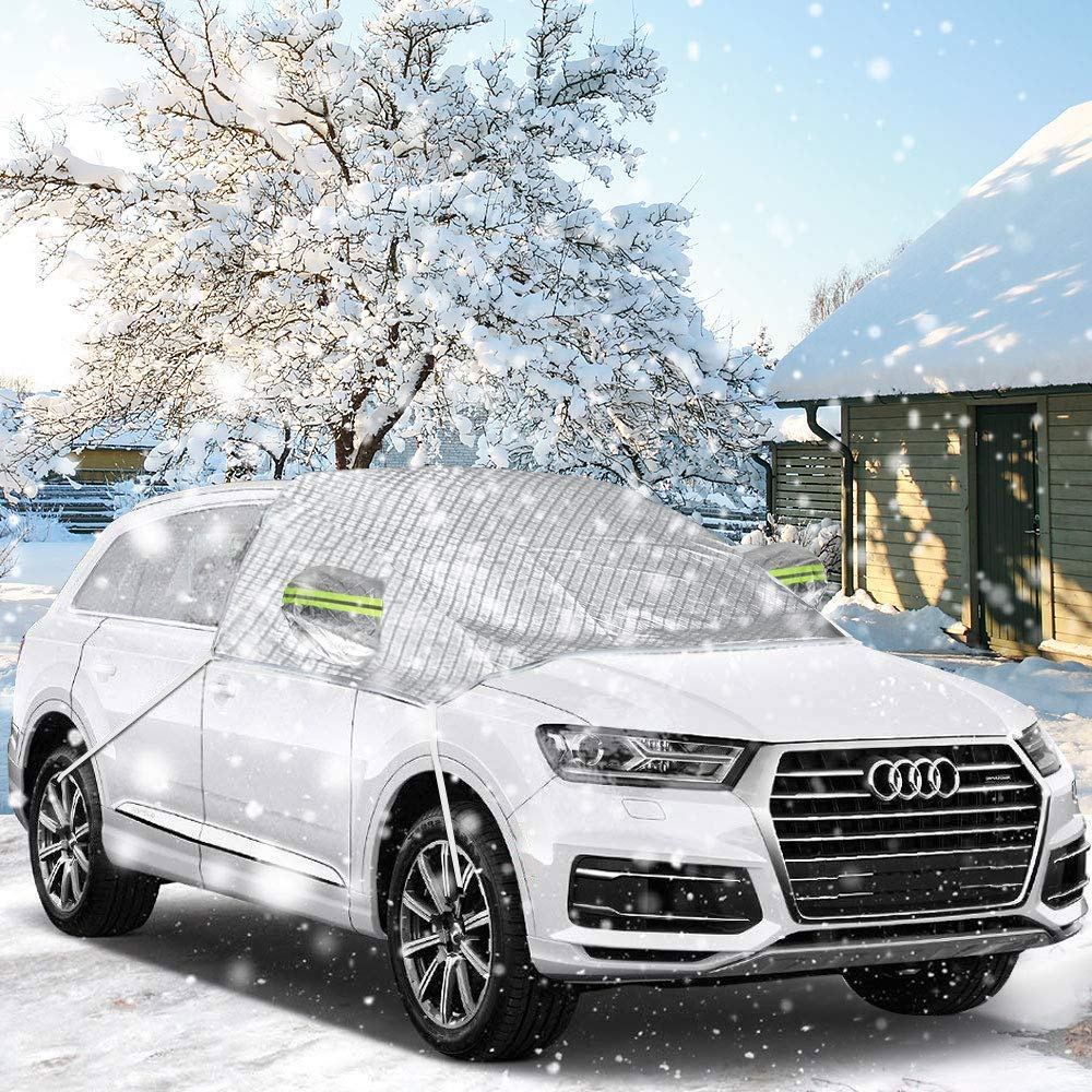 AODOOR Car Windshield Snow Cover, Windshield Ice & Snow Protector for Mirror/Wiper/Front Windows, 4-Layer Protection & Reflective Fabric Design, Standard Size Fit for Most Vehicle