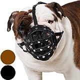 Basket Dog Muzzle for Boxer, English Bulldog , American Bulldog Secure Leather Muzzle