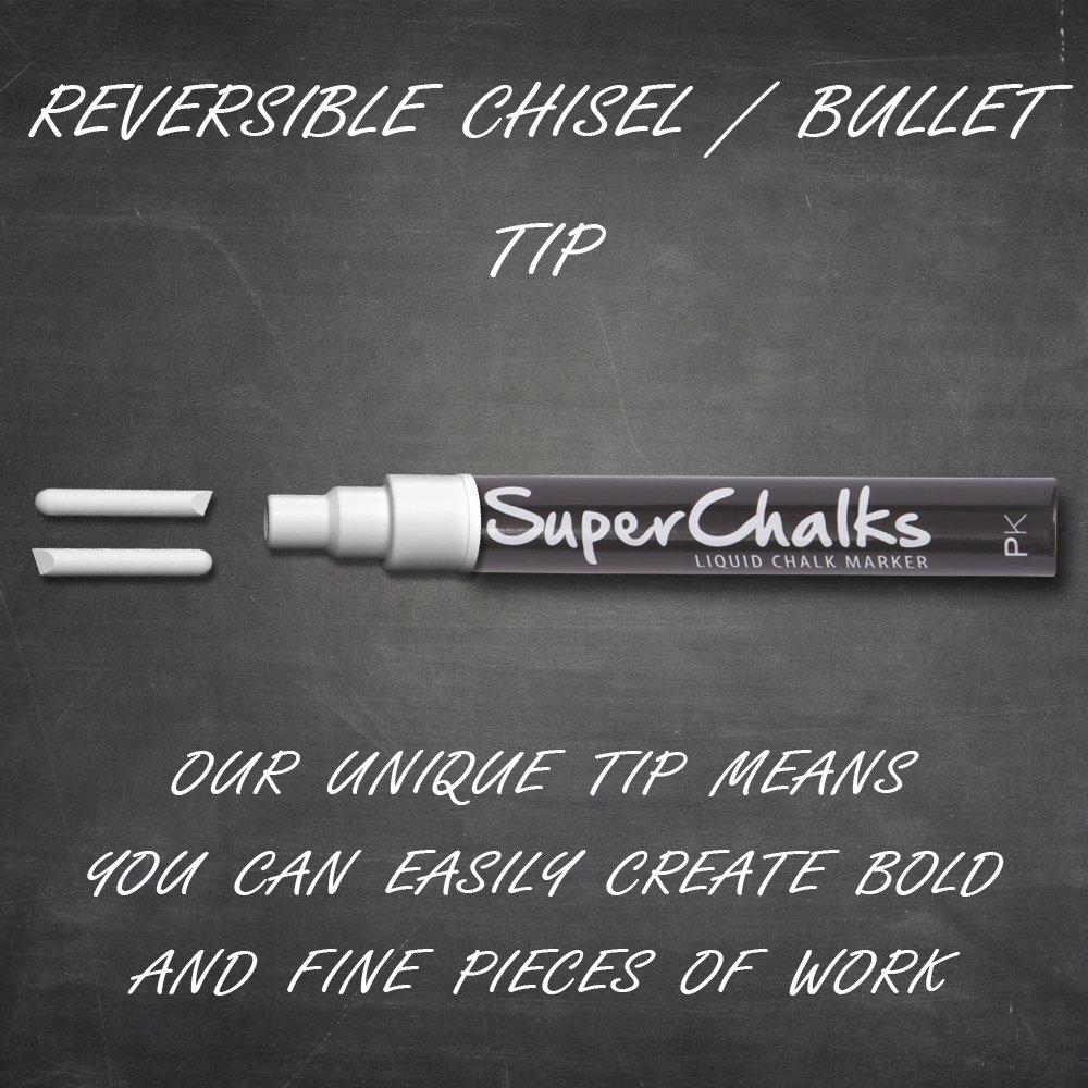 SuperChalks White Liquid Chalk Marker Pen - 4mm Reversible Tip - ONLY  SUITABLE FOR NON POROUS