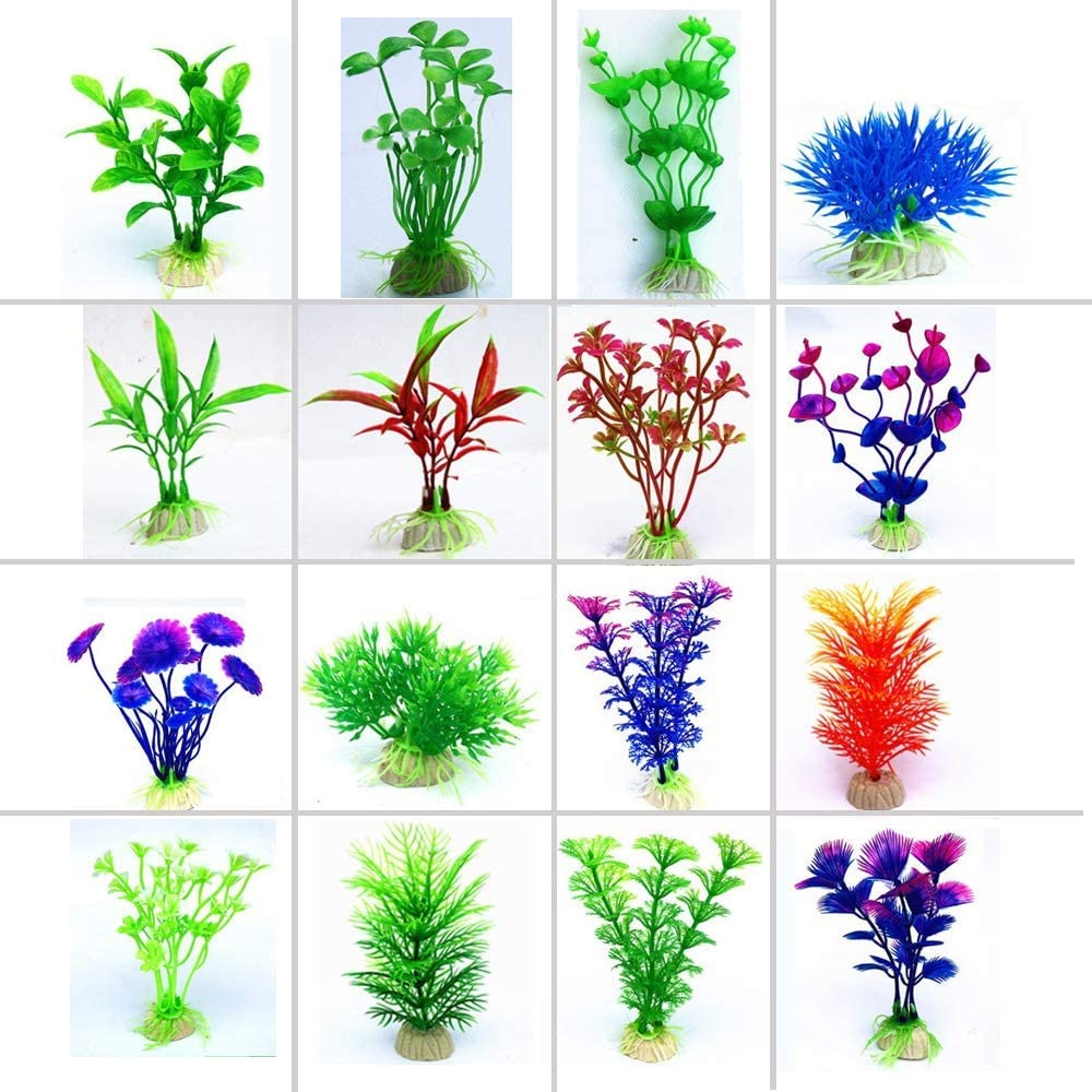 16 Pack Aquarium Decorations Plastic Ornament Plants Fish Tank,for Household and Office Aquarium Simulation Plastic Hydroponic Green Water Plants (1)