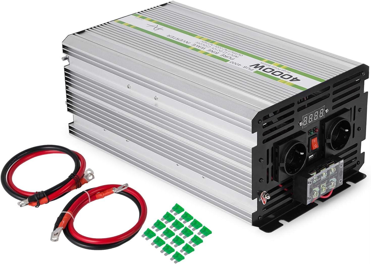 Mophorn Inversor de Corriente 12V DC a 230V AC Inversor de Corriente para Coche con Potencia M/áxima de 6000W Inversor de Onda Sinusoidal Modificada con Mando a Distancia y Pantalla LCD