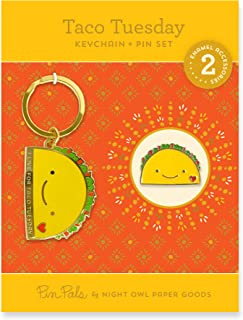 product image for Night Owl Paper Goods Taco Tuesday Keychain & Enamel Pin Gift Set, Gold 2 Piece