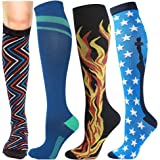 Compression Socks for women-men circulation 4pairs 20-30mmhg-Graduated