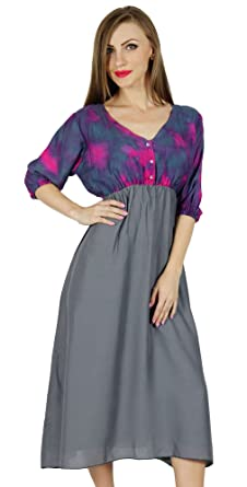 a46a70c6b3d Bimba Femmes Casual Chic Midi Robe Chasuble Style Gris Jour Robes 3 4  Rayonne Manches