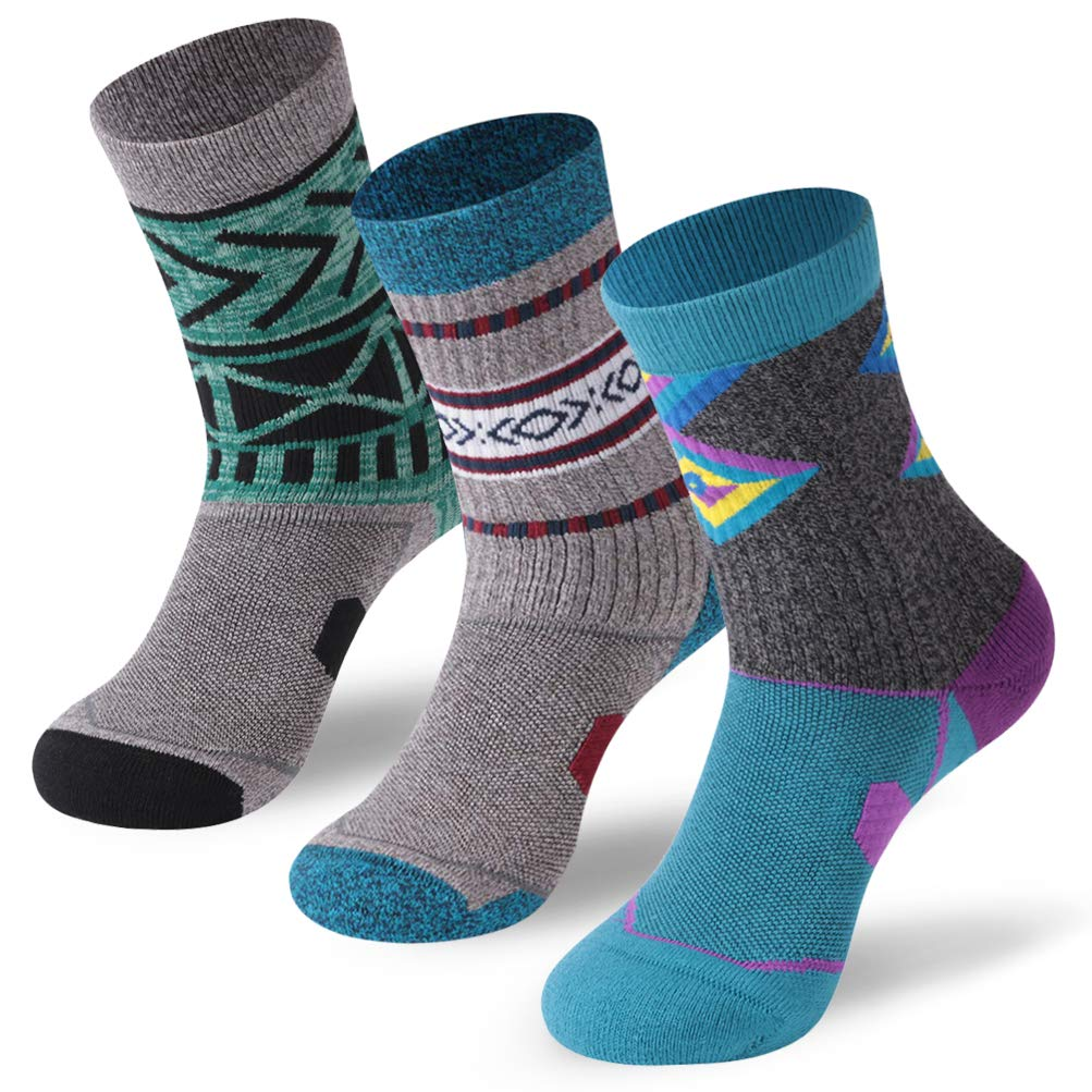 Forcool Walking Crew Socks,Super Soft Bright Vibrant Colorful Stylish Cushiony Comfort Warm Winter Anti-skid Socks for Jogging,Hiking,Tranning,Working Out,Backpacking Medium,3 Pairs Blue/Grey/Green by Forcool