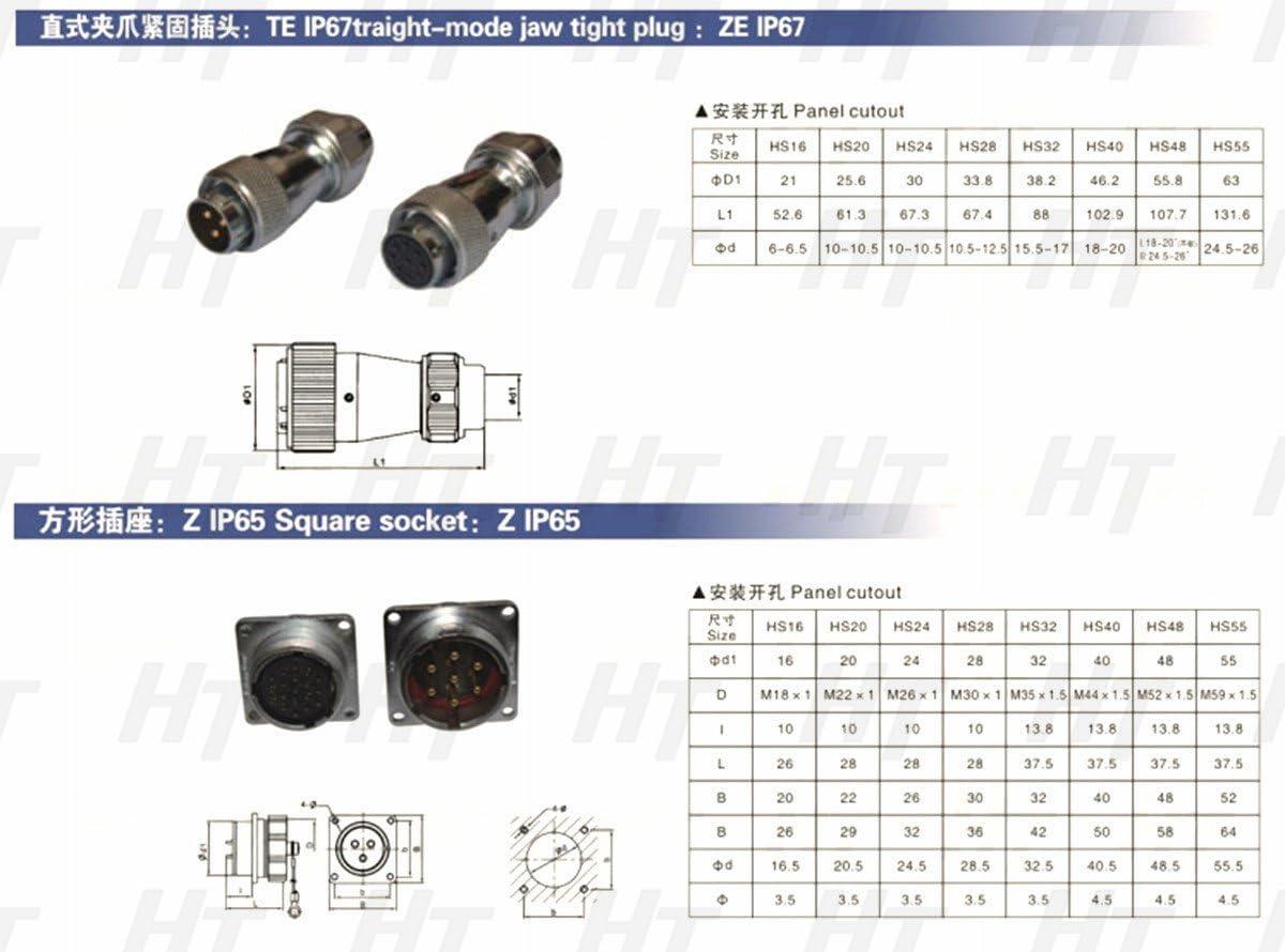 HangTon HF16 7 Pin Metal Aviation Waterproof Automotive Power 16mm Panel Connector