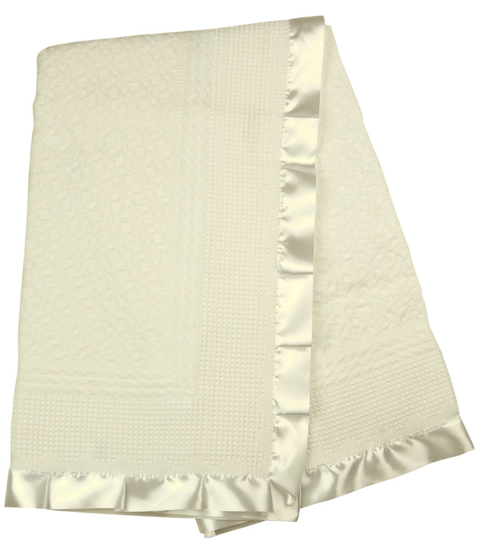 BabyPrem Baby Blanket Shawl Satin Edge Christening Baptism Knitted Cream 110 x 100cm PY022