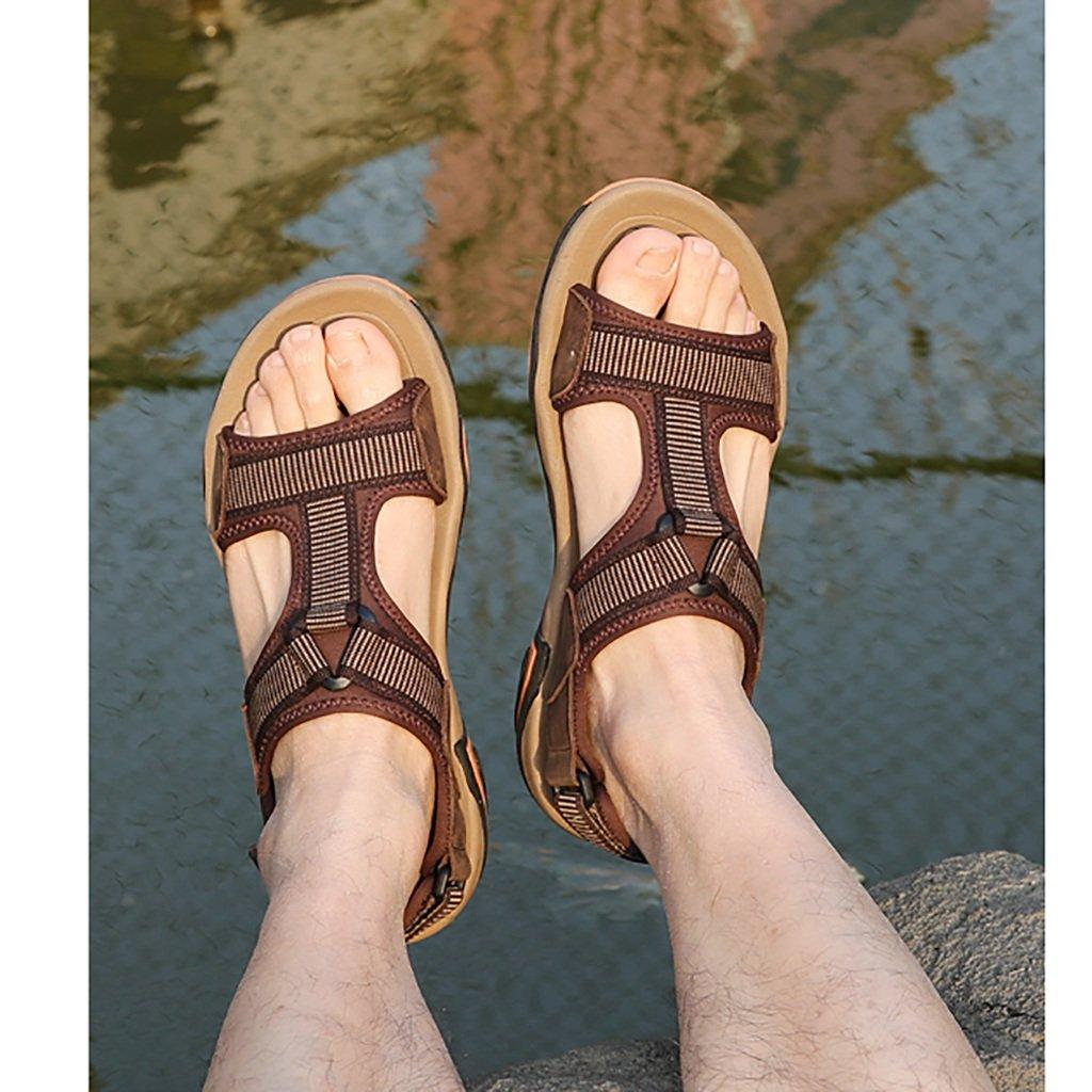 Männer Sandalen im Freien Frühling und Sommer Offene Zehe Boden Atmungsaktiv zu Fuß Weicher Boden Zehe Rutschfeste Bewegung Casual Beach Schuhe aus Echtem Leder Tooling Slippers C 1f1552