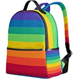 c8d374210323 YZGO Striped Rainbow Children School Backpacks for Boys Girls Youth Canvas  Bookbags Travel Laptop Bags
