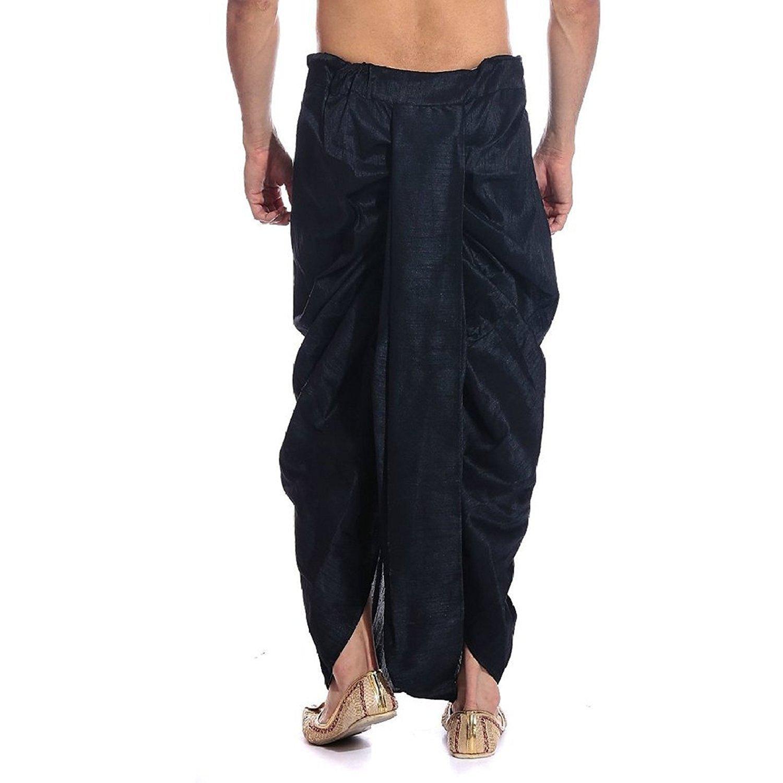 Royal Kurta Men's Art Silk Fine Quality Ready To Wear Dhoti Pants Free Size Black by Royal Kurta (Image #2)