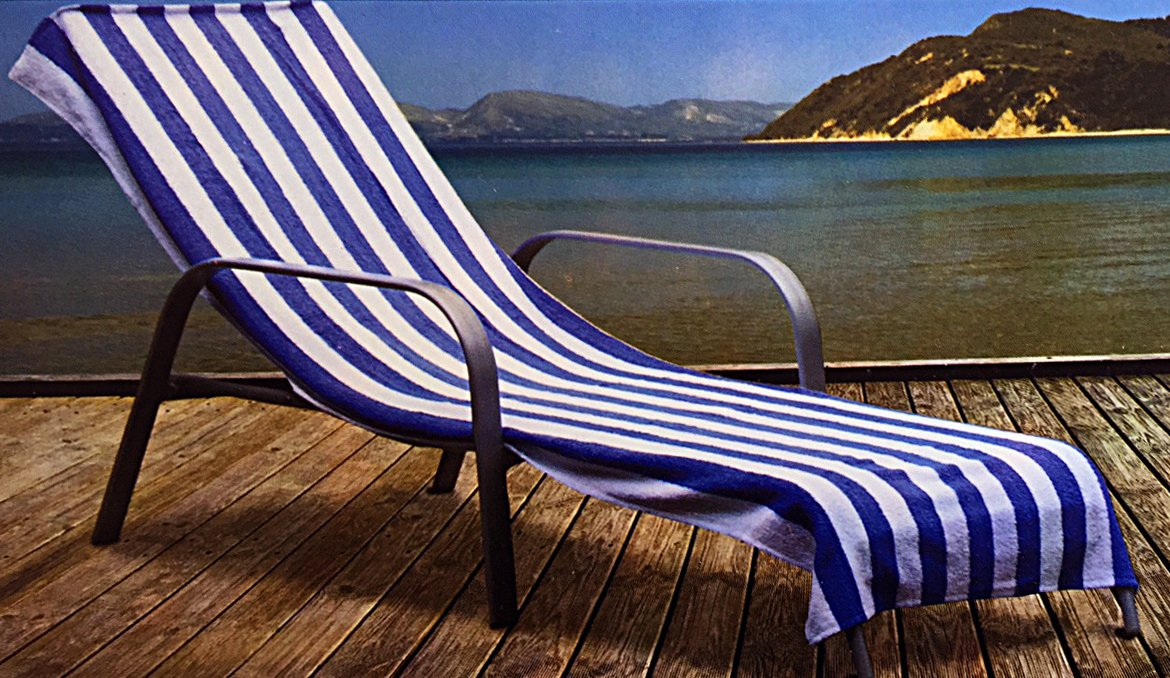 Home Bargain Plus Cabana Stripe Chaise Lounge Cover, 100% Cotton Terry, 28 Inch x 78'' Inch with 12 Inch Top Pocket, Blue