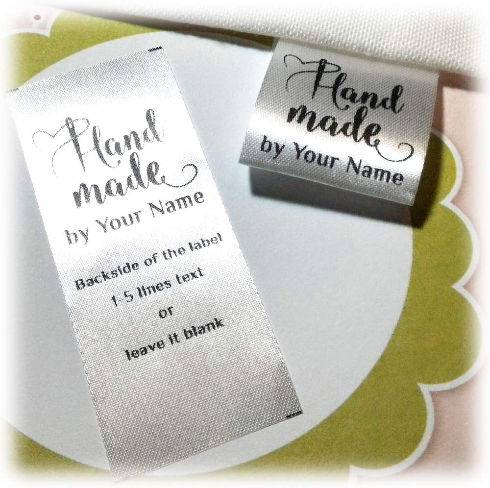 Custom Text Logo Tag Personalized Clothes Dress Craft Sew on Satin Ribbon Labels