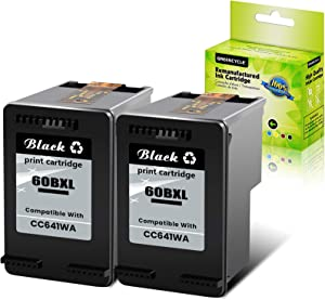 GREENCYCLE Remanufactured 60XL CC641WN High Yield Ink Cartridge Compatible for Envy 100 e-All-in-One D410a D410b PhotoSmart C4635 C4680 C4700 DESKJET D2500 D2545 Series Printer (Black,2 Pack)