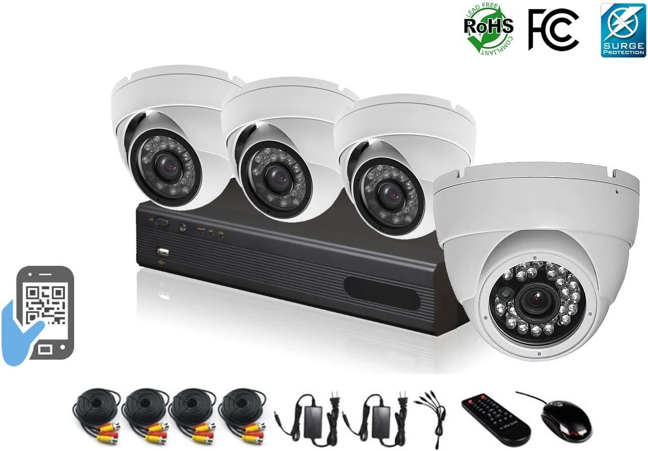 HDView 12 8 BNC 4 IP Channel 2.4MP 1080P HD Megapixel Security Camera Surge-Protection 4-in-1 TVI AHD CVI 960H DVR Kit