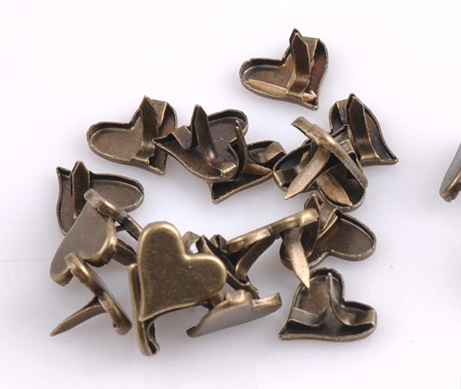 50pcs 11mm Antique Brass Heart Metal Brads Scrapbooking Craft Embellishment Card Making Decorative DIY Rivets Paper Fasteners DP032 Thailand
