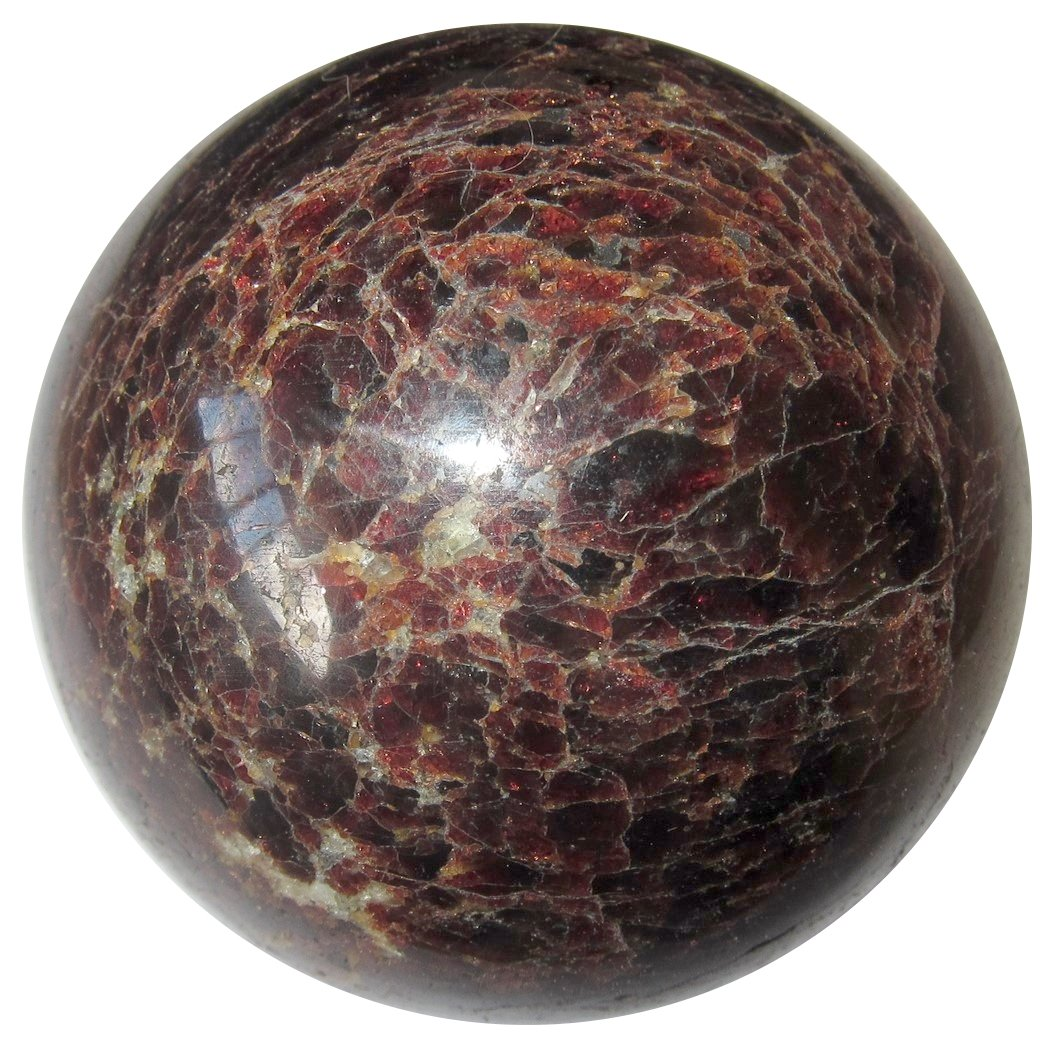 Satin Crystals Garnet Ball Collectible Genuiine Solid Gemstone Sphere Total Holistic Health Energy Stone C01 (Red, 2.8 Inches)