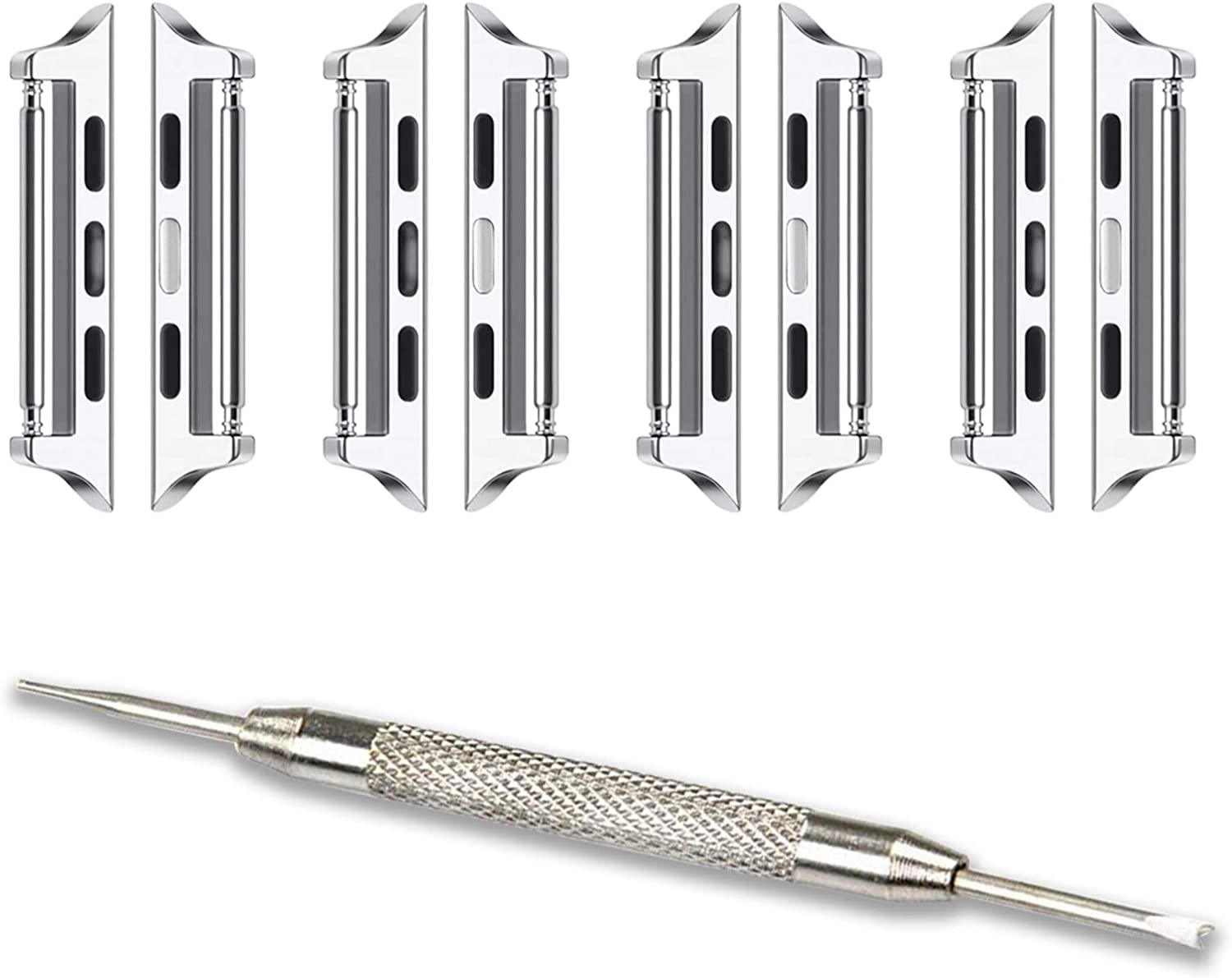 [Spring Bar] OMECKY Connectors Compatible with Apple Watch Band Adapter, Silver (4 Pack)