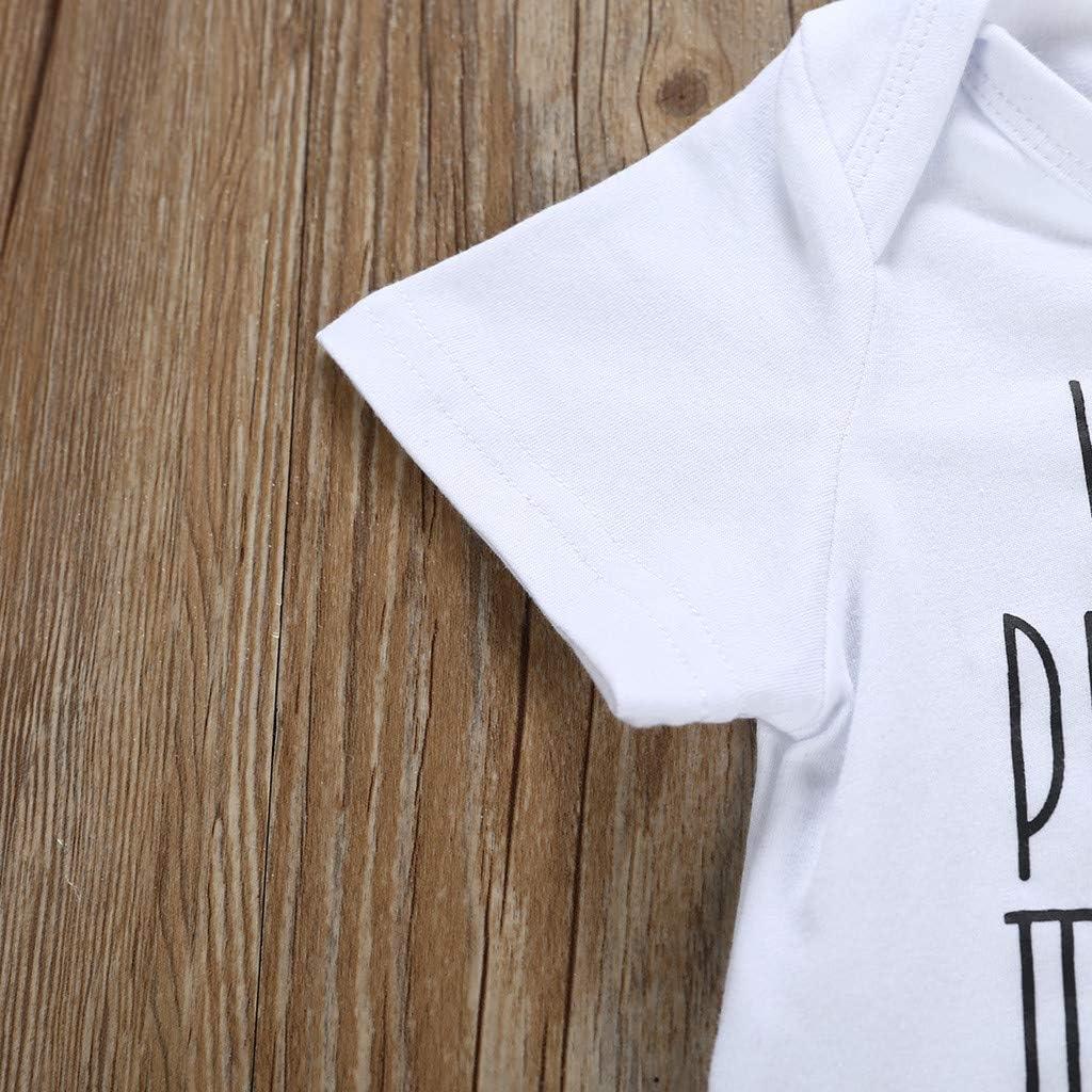 Efaster Infant Baby Boy Girl Bodysuit Letter Print Romper Outfit Clothes for 0-24Months