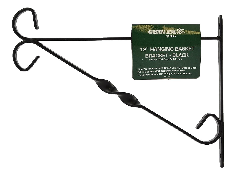 Green Jem 12Zoll Hanging Basket, Halterung–Schwarz