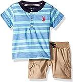 U.S. Polo Assn. Baby-Boys 2 Piece Short Sleeve Henley T-Shirt and Twill Short Set Shorts Set - Blue