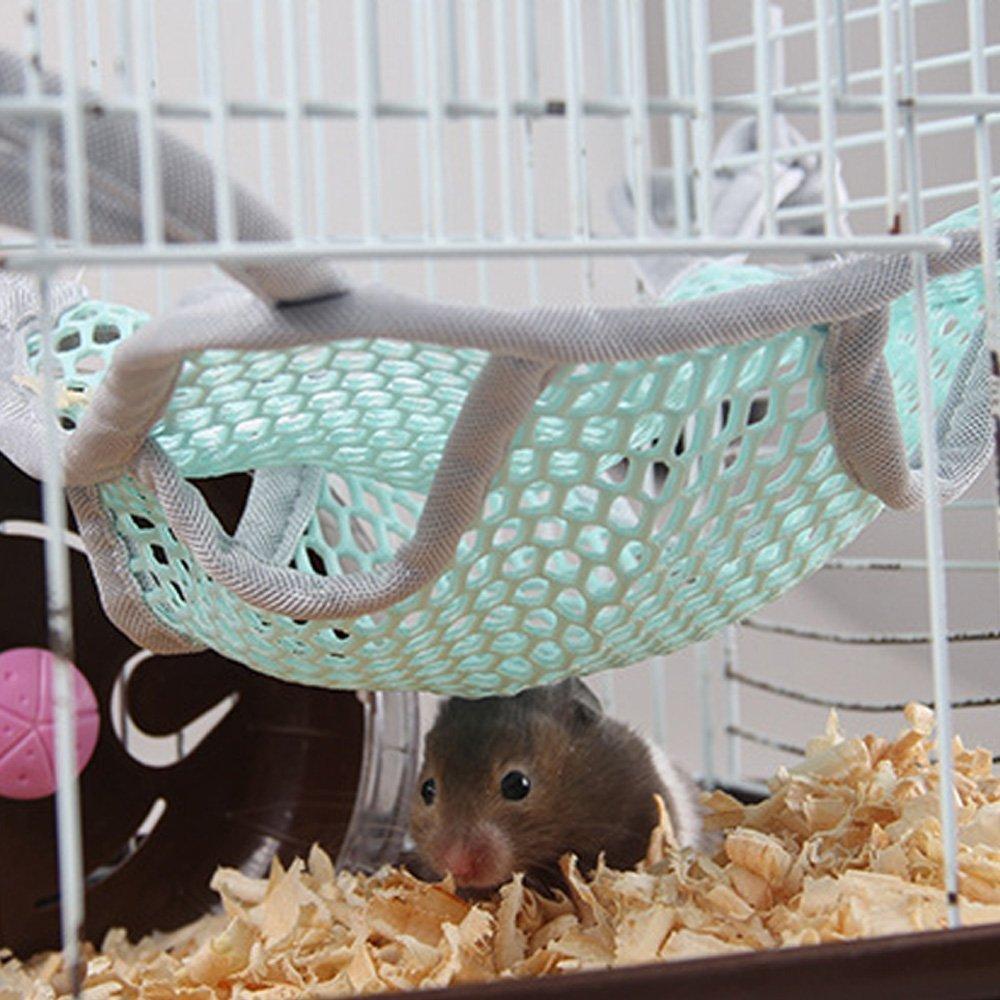 Hypeety Hamaca para cama de hámster diseño de animales pequeños, para colgar en la cama de la mascota, de doble cara, transpirable, malla de malla para ...