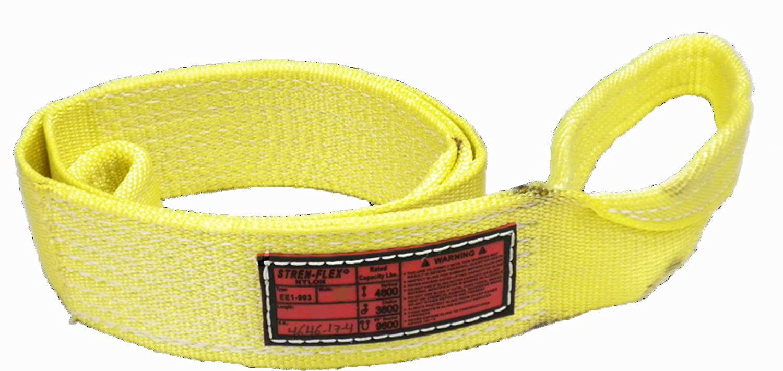 "B00AITH1WI Stren-Flex EEF1-906-8 Type 3 Heavy Duty Nylon Flat Eye and Eye Web Sling, 1 Ply, 9600 lbs Vertical Load Capacity, 8' Length x 6"" Width, Yellow 714Q3Knu8UL._SL1500_"