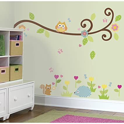 ROOMMATES RMK1861SCS Happi Scroll Branch Peel and Stick Wall Decals & ROOMMATES RMK1861SCS Happi Scroll Branch Peel and Stick Wall Decals ...